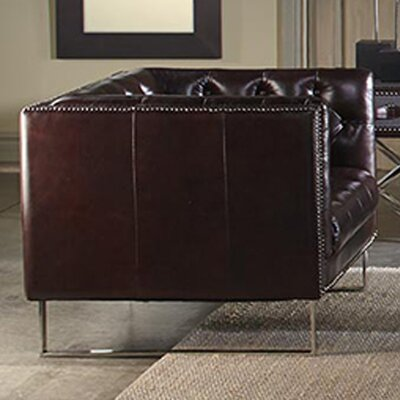 Bordeaux Leather Chesterfield Loveseat