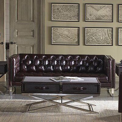Bordeaux Leather Chesterfield Sofa