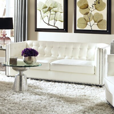 Belaire Leather Chesterfield Sofa Upholstery: Off-White