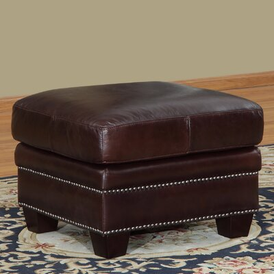Euston Leather Ottoman Upholstery: Cranberry
