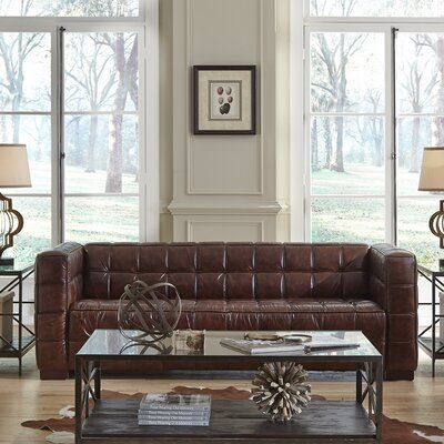 Nautical Leather Chesterfield Loveseat Upholstery: Cocoa Brompton