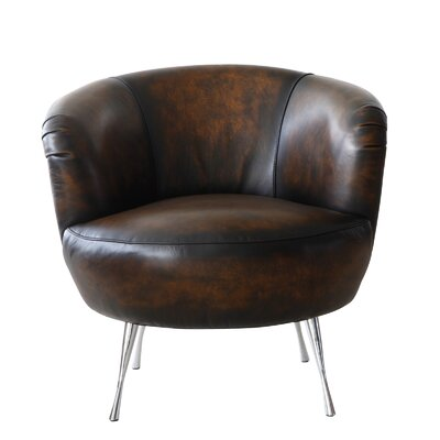 Modena Leather Barrel Chair Finish: Black and Tan