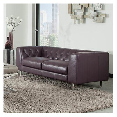 Faya Plum Leather Chesterfield Sofa
