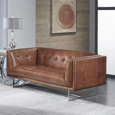 Gulielma Leather Chesterfield Loveseat