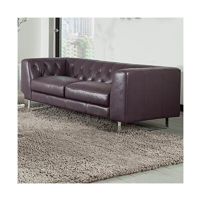 Faya Leather Chesterfield Loveseat