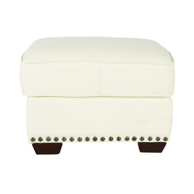 Belaire Leather Ottoman Upholstery: White