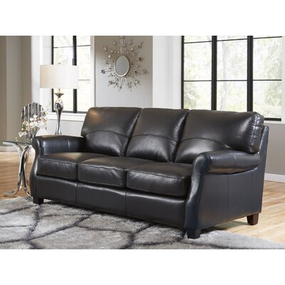 Carlisle Leather Sofa Upholstery: Black