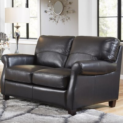 Carlisle Leather Loveseat Upholstery: Black