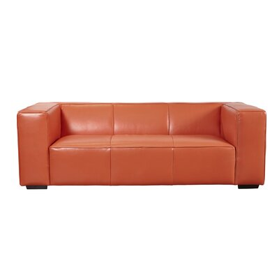 Denis Leather Sofa Upholstery: Tangerine