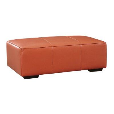 Denis Leather Ottoman Upholstery: Tangerine