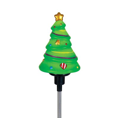 """30"""" Green Artificial Christmas Tree with Solar LED Spinning Stake"""