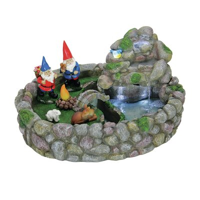 Image of 7 Piece Gnome Fountain Statue Set with LED's