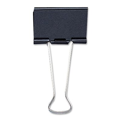Medium Binder Clip, 1-1/4Wide, 5/8 Capacity, 12/BX, Black Capacity: 1/4