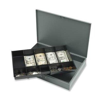 Cash Box, w/ 2 Keys, 10 Compartments, 12x19x3-3/4, Gray