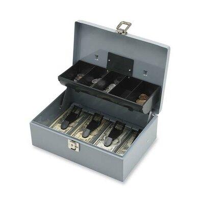 Cash Box, 5 Compartments, 11-3/8x7-1/2x3-3/8, Gray