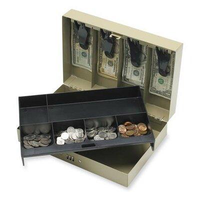 Combination Lock Cash Box, Steel, 11-1/2x7-3/4x3-1/4, Gray
