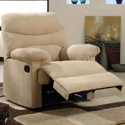 Plush Chaise Manual Glider Recliner Upholstery: Light Brown