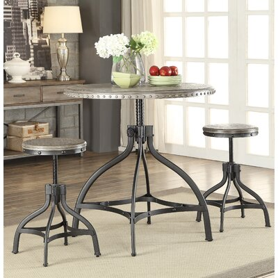 Fatima 3 Piece Adjustable Counter Height Set with Stool Seating