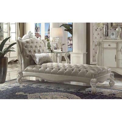 Welton Chaise Lounge Upholstery: Vintage Gray PU/Bone White