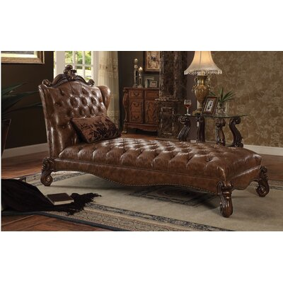 Welton Chaise Lounge Upholstery: Light Brown PU/Cherry Oak