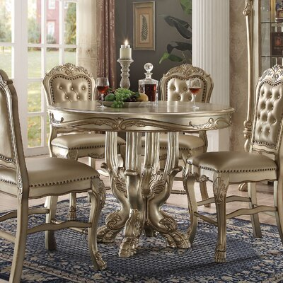 Welliver Counter Height Dining Table Color: Gold Patina/Bone