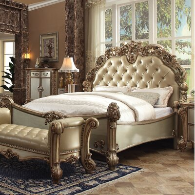 Welles Upholstered Panel Bed Size: King, Color: Bone/Gold Patina