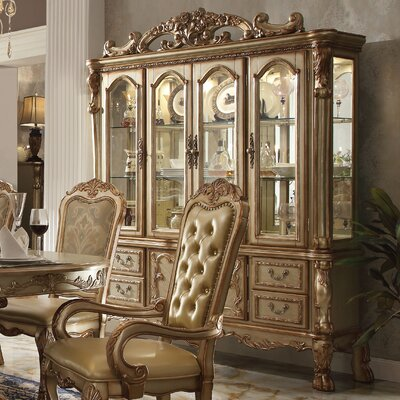Welliver Lighted China Cabinet Color: Gold Patina/Bone