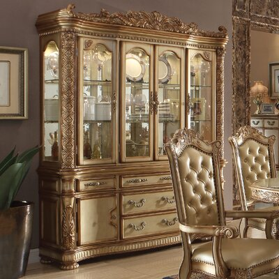 Welles Lighted China Cabinet Color: Gold Patina/Bone
