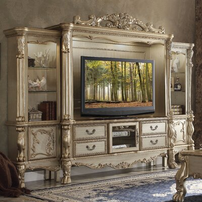 Welliver Entertainment Center Color: Gold Patina/Bone