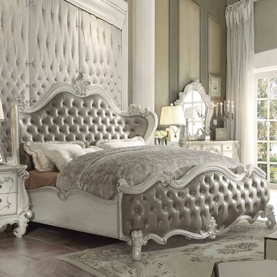 Welton Upholstered Panel Bed Color: Vintage Gray PU/Bone White, Size: California King