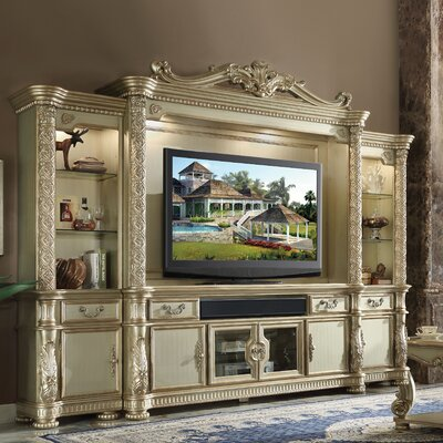 Welty Entertainment Center Color: Gold Patina/Bone
