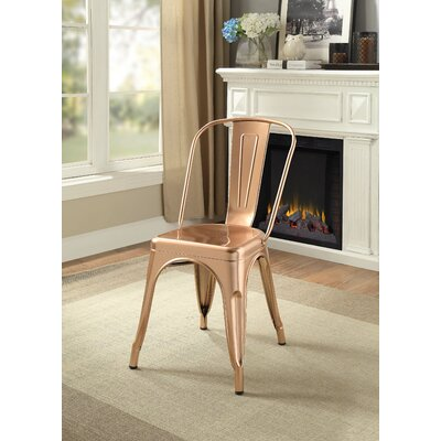Hufford Upholstered Dining Chair Color: Rose Gold