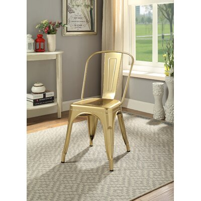 Hufford Upholstered Dining Chair Color: Gold