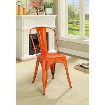Hufford Upholstered Dining Chair Color: Orange