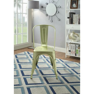 Hufford Upholstered Dining Chair Color: Brass