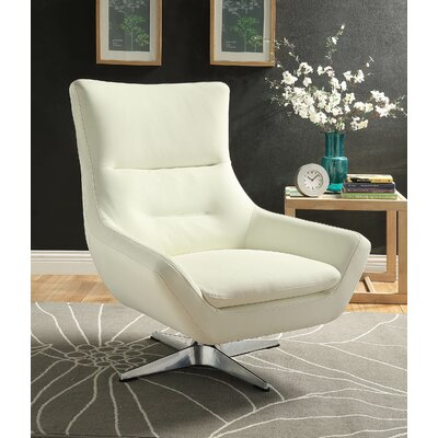 Boerger Swivel Armchair Upholstery: White