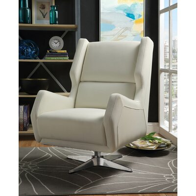 Boerger Swivel Wingback Chair Upholstery: White