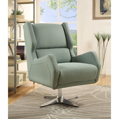 Boerger Swivel Wingback Chair Upholstery: Stone Gray