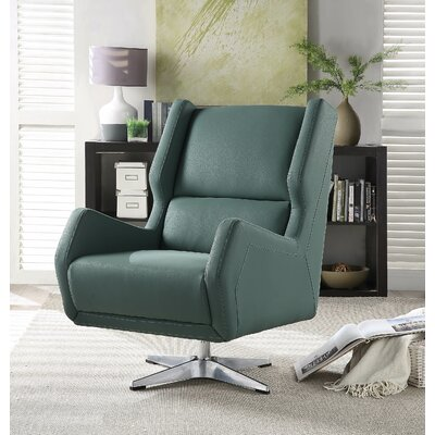 Boerger Swivel Wingback Chair Upholstery: Green