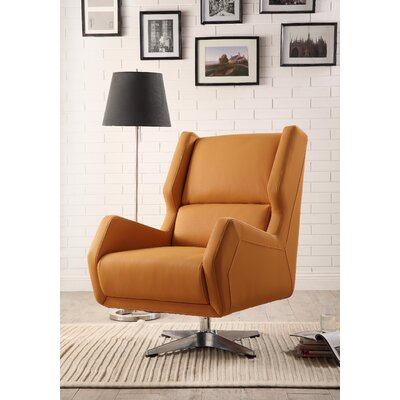 Boerger Swivel Wingback Chair Upholstery: Orange