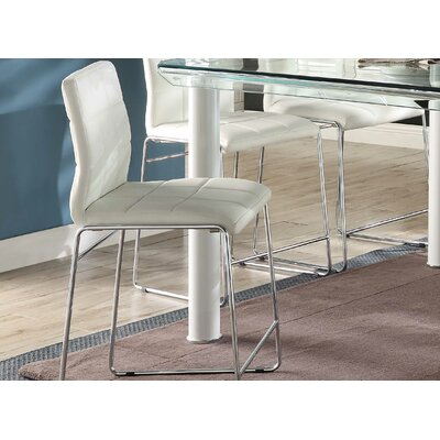 Len Upholstered Dining Chair Upholstery Color: Chrome/White