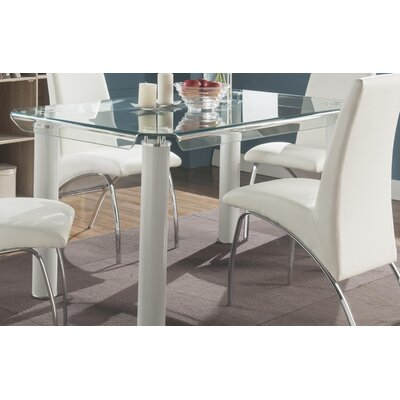 Len Rectangular Counter Height Dining Table Base Color: White