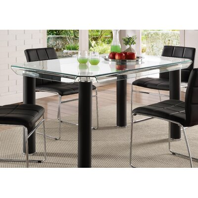 Len Rectangular Counter Height Dining Table Base Color: Black
