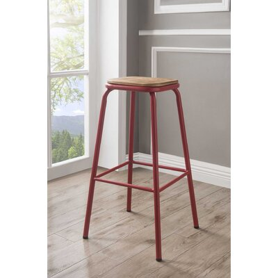 Ling 30 Bar Stool Color: Red