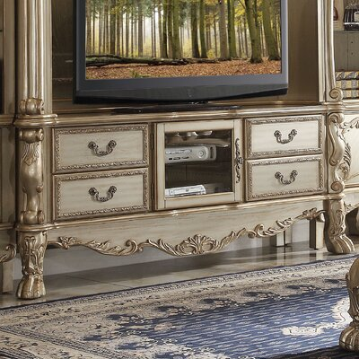 Welliver 79 TV Stand Finish: Gold Patina/Bone