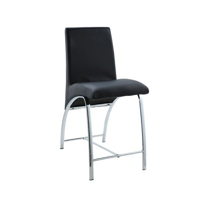 Len Counter Height Upholstered Dining Chair Upholstery: Black