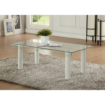 Len Glass Coffee Table Base Color: White