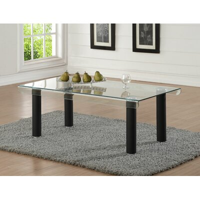 Len Glass Coffee Table Base Color: Black