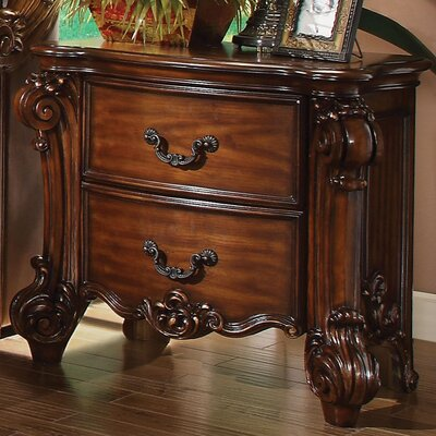 Welles 2 Drawer Nightstand Color: Cherry
