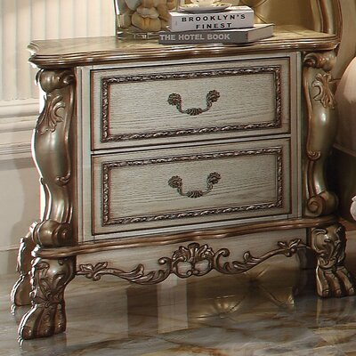 Welliver 2 Drawer Nightstand Color: Gold Patina/Bone